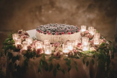 Wedding cake with fresh berries