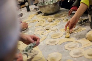 Preparing homemade ravioli during an Italian cooking class