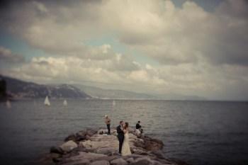 Bridal couple on the beach of Santa Margherita