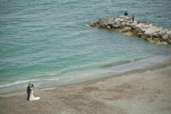 Bride and groom on the beach of Santa Margherita