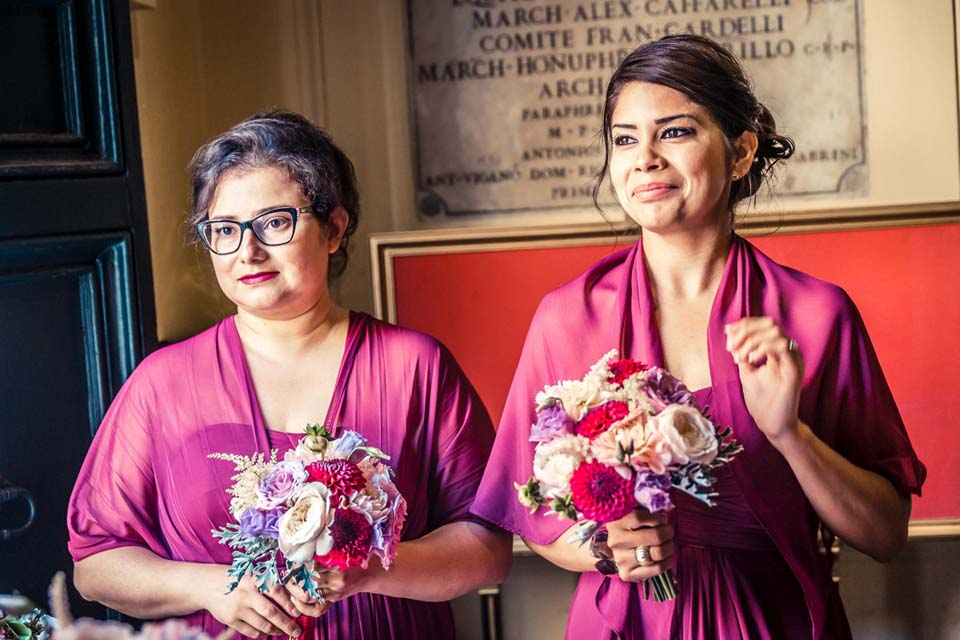 Bridesmaids at Wedding in Rome