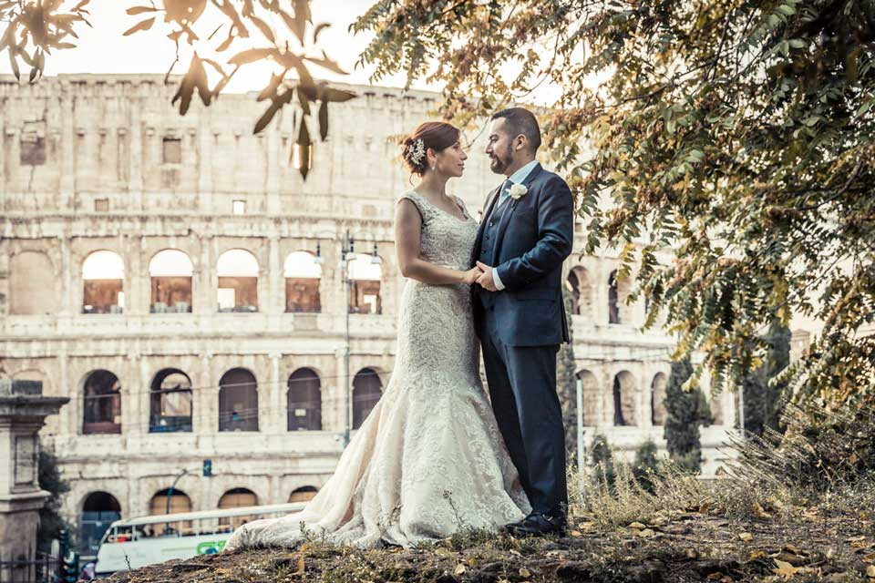 Bridal couple by the Colosseum in Rome