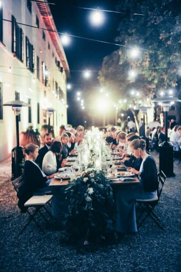 Outdoor wedding banquet in Tuscany