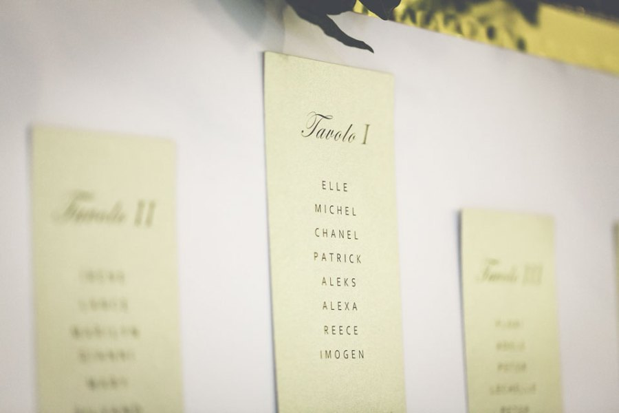 Table Plan for Wedding in Rome