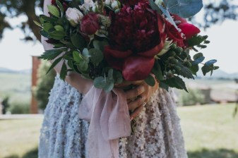 Bridal bouquet in deep red tones