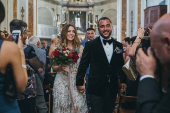 Bridal couple at the end of a Catholic ceremony