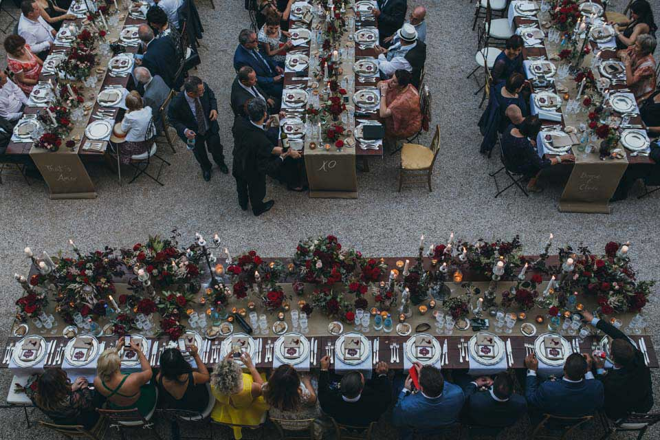 Long tables for wedding in Tuscany