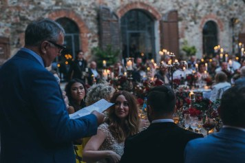 Speeches during Tuscany wedding