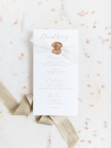Wedding menus with copper sealing wax