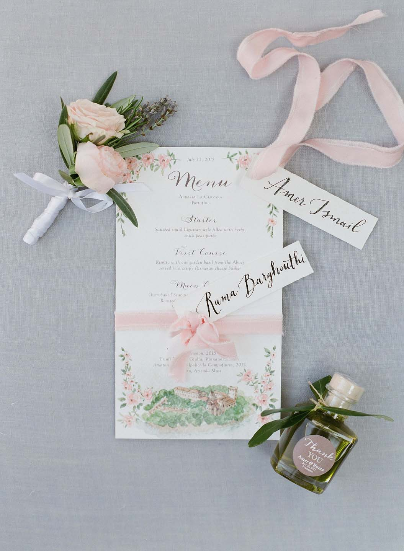 wedding menu and boutonniere