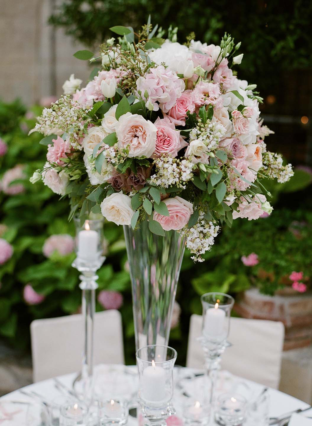 composition of pink and white roses