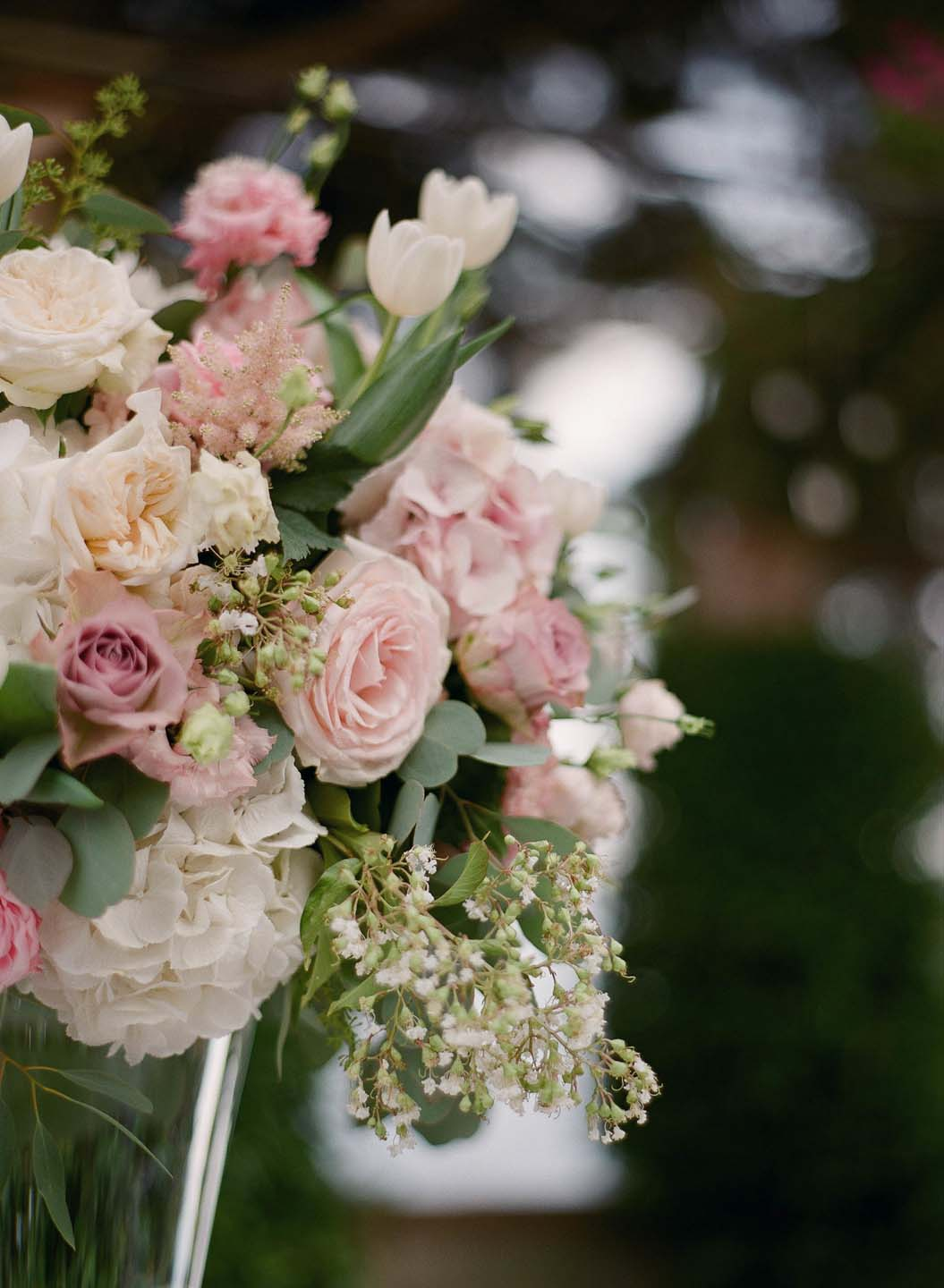 pink and white flower decor