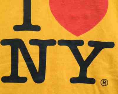 TEE SHIRT – GILDAN – MANCHE COURTE ORANGE « I ♡ NY » – Size S/M