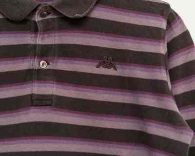 LS POLO – KAPPA – LOGO BRODÉ RAYURE VIOLET GRIS – Size S