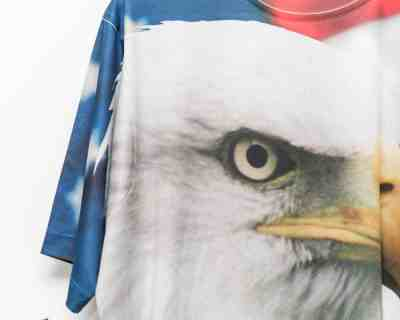 T-SHIRT – GET A LIFE – OVERALL PRINT EAGLE USA – Size L