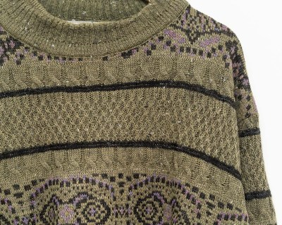 PULLOVER – TRICOT OK – HIGH NECK NORDIC TRICOT – Size XL