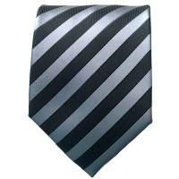 Silver/Black Striped Neck Tie: execshirts