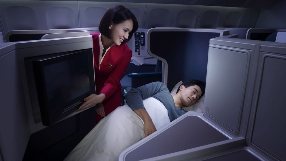 Sleep easy: in Cathay Pacific business and first class, face masks are now optional.