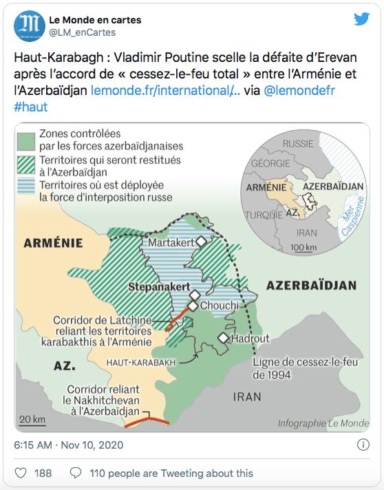 Le corridor de Latchine sera réaménagé d'ici 3 ans, alors qu'un second corridor devra relier l'enclave du Nakhitchevan à l'Azerbaïdjan, afin d'établir le mouvement non entravé des personnes, des véhicules et du fret dans les deux directions. (Capture d'écran : Le Monde en cartes via Twitter)