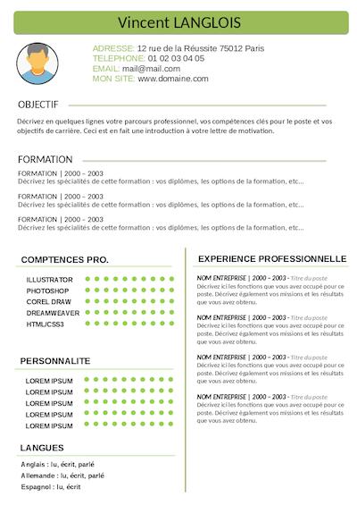 modele cv stage licence
