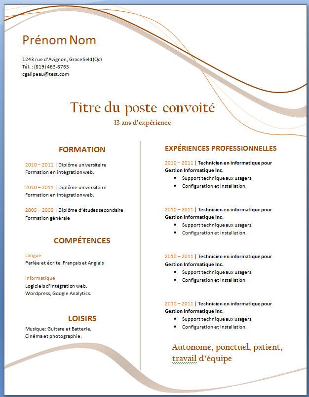 image modele de cv etudiant a imprimer lettre de presentation