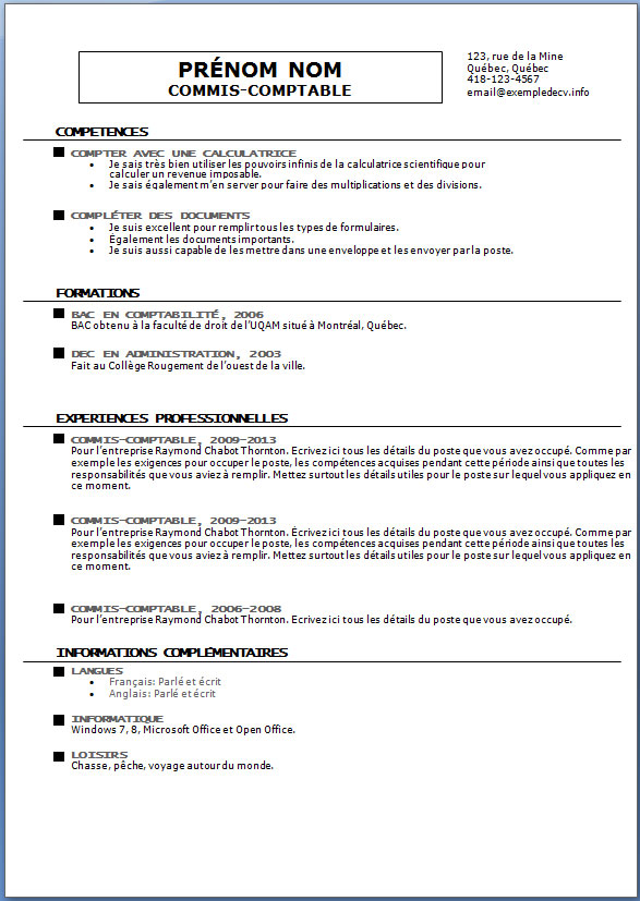 Cv Vierge Format Word How To Make A Resume For Students