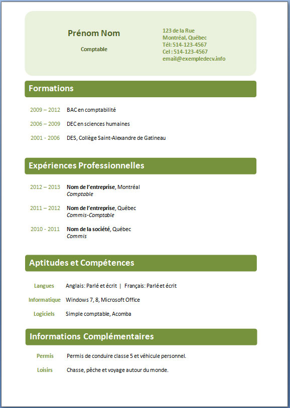 page presentation cv a telecharger