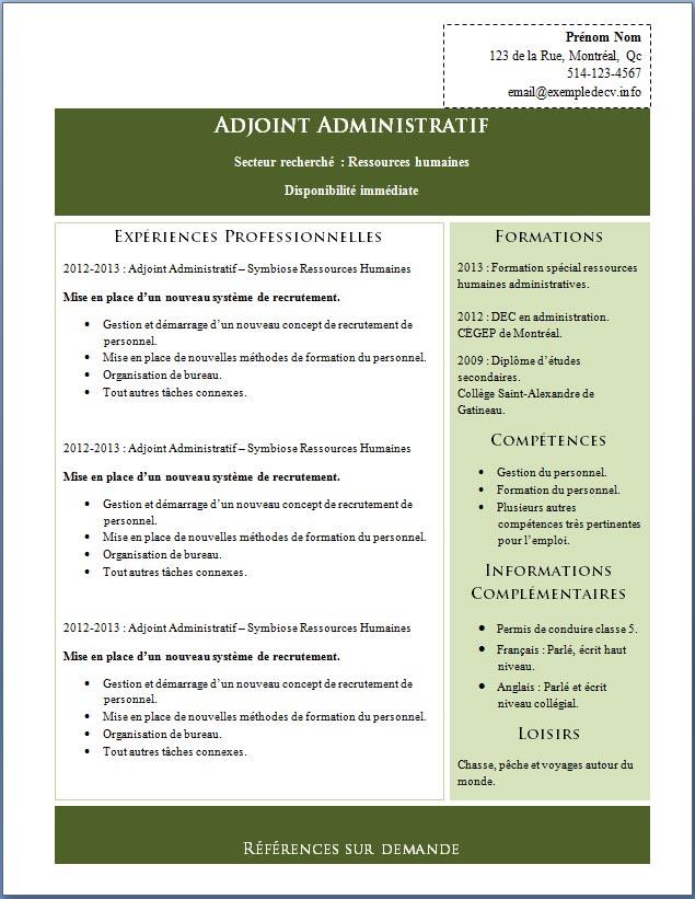 modele cv assistant administratif gratuit