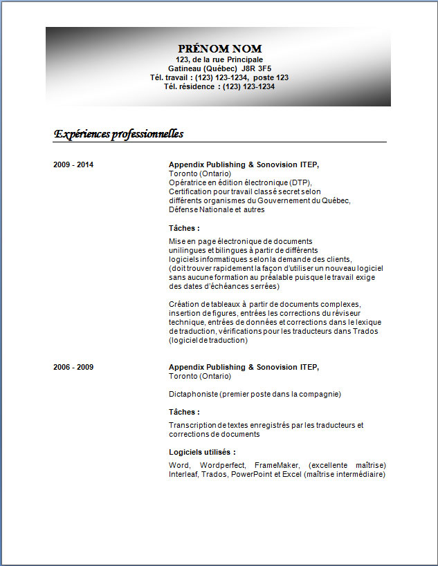 exemple cv edition