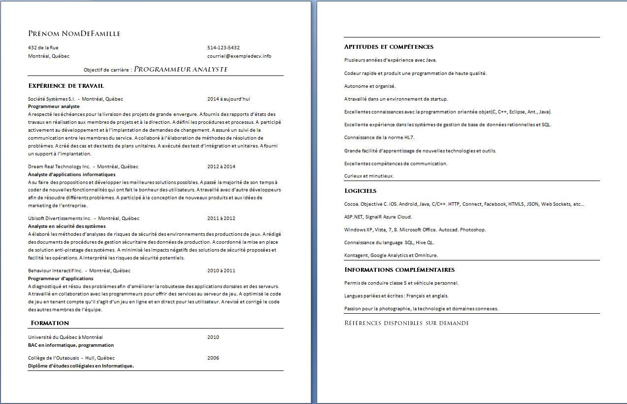 Cv Format Quebec Customer Service Resume Example