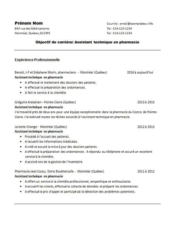 Exemple De Cv D'une Assistante Ou Assistant Technique En