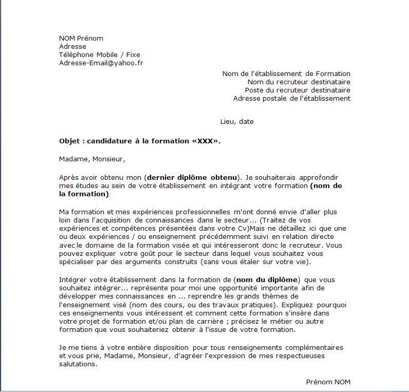 avis type lettre administrative lettre type