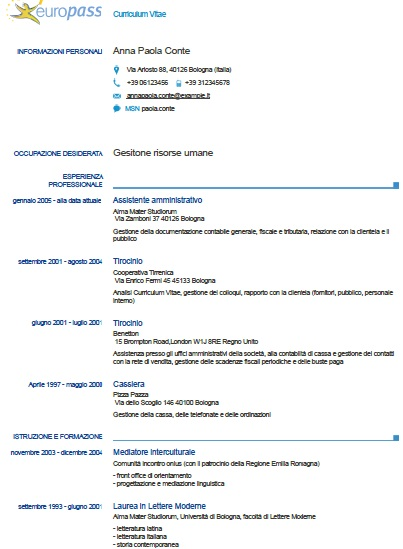 Modle De CV Europass En Italien Exemples De CV