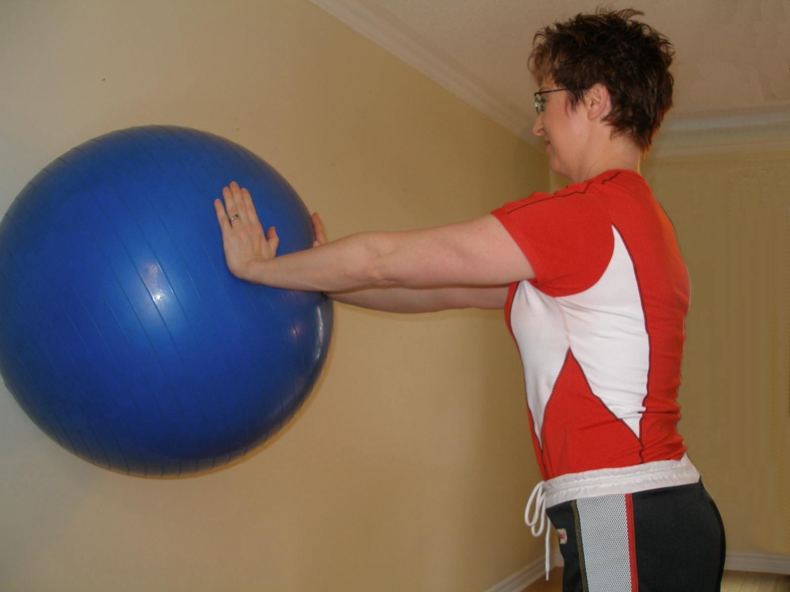 Leaning Straight on the Exercise Ball Standing Plank