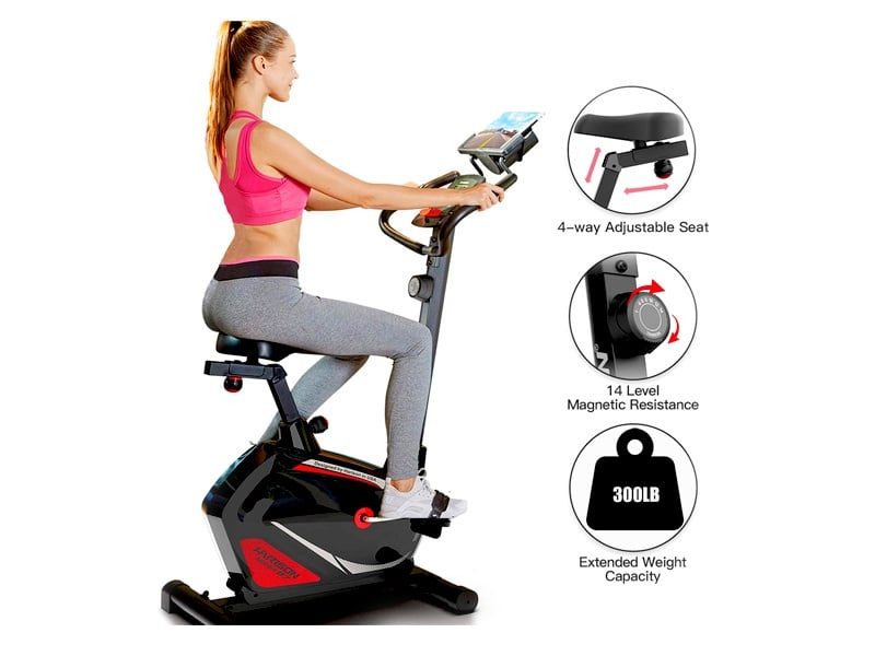 Magnetic-Upright-Exercise-Bike-Stationary-with-Table-Holder-300-LBS