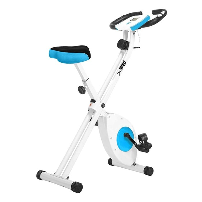 Xspec-Indoor-Foldable-Stationary-Upright-Cardio-Workout-Exercise-Cycling-Bike-wHeart-Rate-8Level-Magnetic-Resistance-LCD