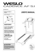 Weslo Cadence Af 5.1 Treadmill Manual Downloads