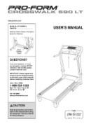 ProForm Crosswalk 590 Lt Treadmill Manual Downloads