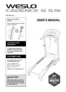Weslo Cadence G 5.9i Treadmill Manual Downloads