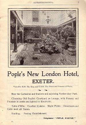 c. 1895 advertising of the New London Hotel, Exeter [www.exetermemories.co.uk]