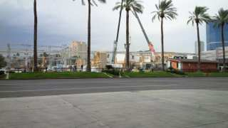 Setting up in parking lot of Las Vegas Convention Center, the two shows will occupy separate halls.