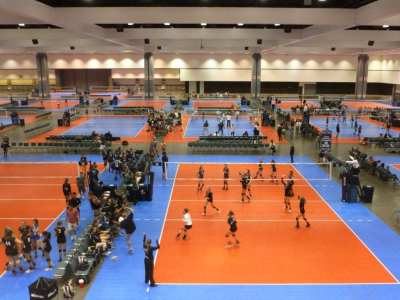 The Southern California convention center transforms to host competition volleyball.