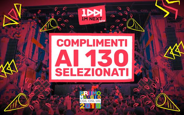 """CONCERTO DEL PRIMO MAGGIO 2019 a Roma: ecco i nomi dei 130 pre-selezionati che hanno partecipato al contest """"1M NEXT""""!"""