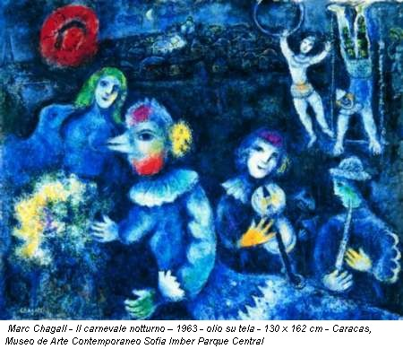 Marc Chagall - Il carnevale notturno – 1963 - olio su tela - 130 x 162 cm - Caracas, Museo de Arte Contemporaneo Sofia Imber Parque Central