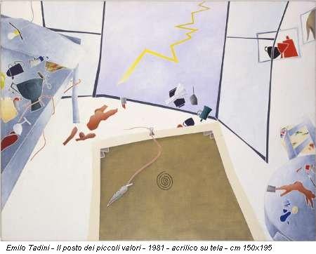 Emilo Tadini - Il posto dei piccoli valori - 1981 - acrilico su tela - cm 150x195