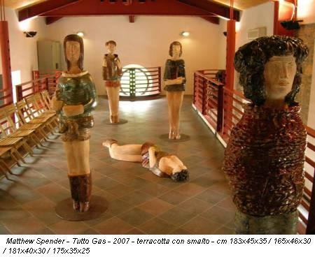 Matthew Spender - Tutto Gas - 2007 - terracotta con smalto - cm 183x45x35 / 165x46x30 / 181x40x30 / 175x35x25