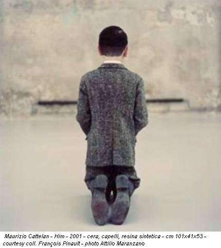Maurizio Cattelan - Him - 2001 - cera, capelli, resina sintetica - cm 101x41x53 - courtesy coll. François Pinault - photo Attilio Maranzano