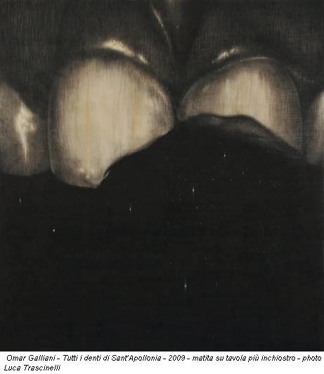 Omar Galliani - Tutti i denti di Sant'Apollonia - 2009 - matita su tavola più inchiostro - photo Luca Trascinelli