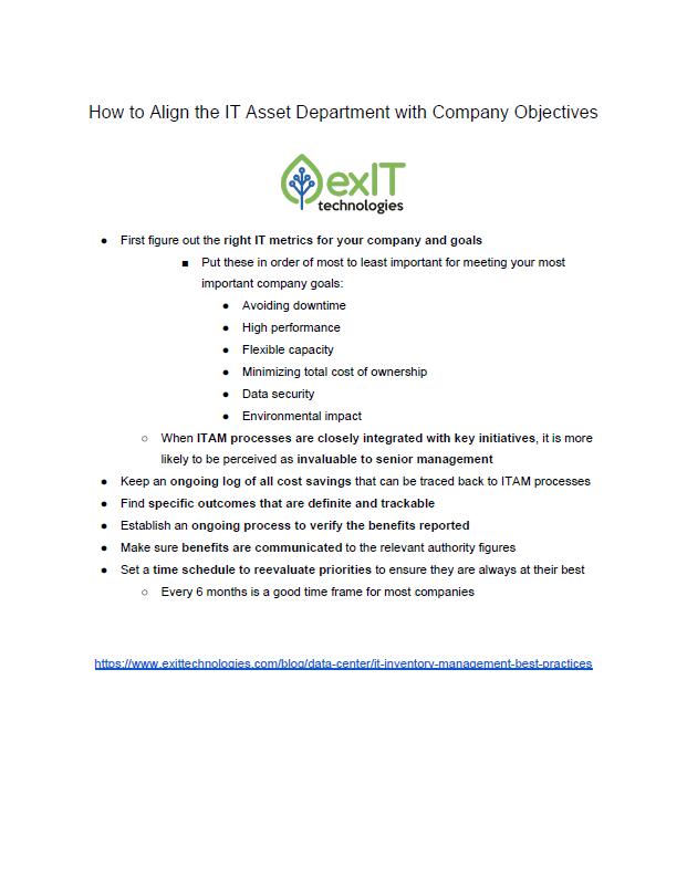 itam best practices checklist