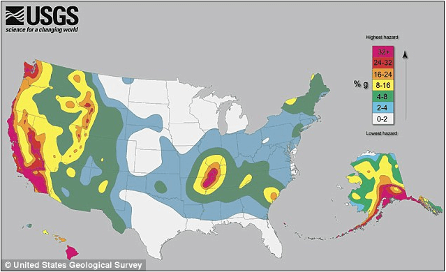 USGS earthquake danger map for where to locate a data center